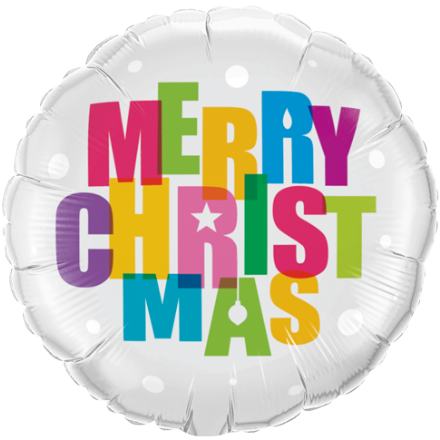 18'' Merry Christmas Colours Foil Balloon